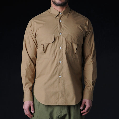 Cubic Slim Fit Utility Shirt in Sand