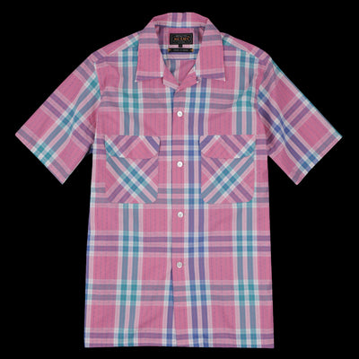 Beams+ - Quilted Check Short Sleeve Open Collar Shirt in Pink