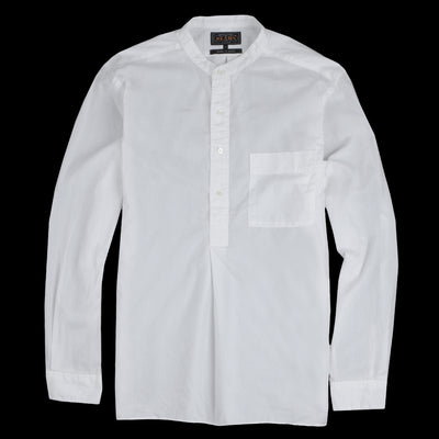 Beams+ - Pima Linen Band Collar Popover Shirt in White