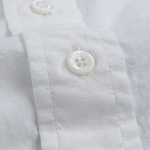 Pima Linen Band Collar Popover Shirt in White