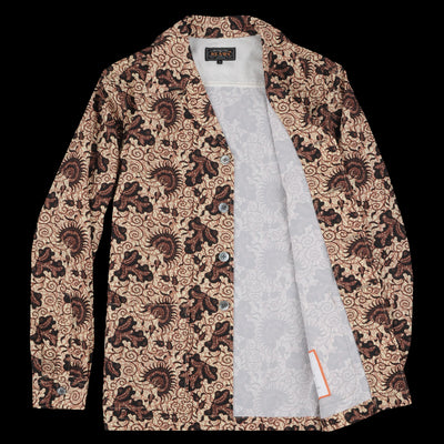 Beams+ - Seersucker Batik Camp Collar Shirt Jacket in Beige