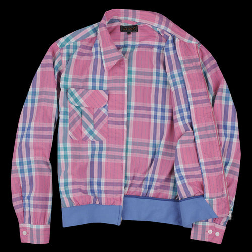 Quilted Check Zip Blouson in Pink