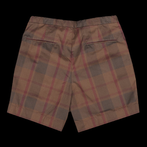 Dark Check Wide Short in Brown