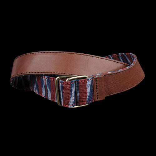 Ikat Reversible Leather Belt in Red