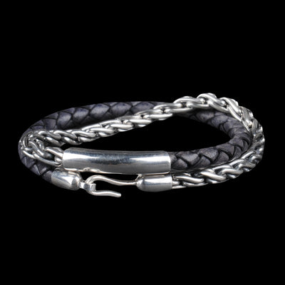 Caputo & Co. - Chunky Silver Chain & Leather Bracelet in Pacific Blue
