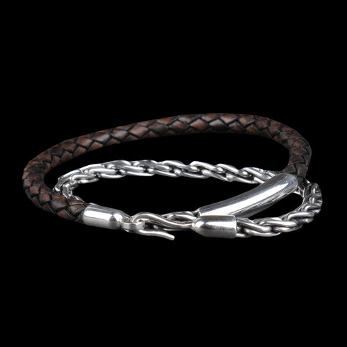 Chunky Silver Chain & Leather Bracelet in Antique Brown