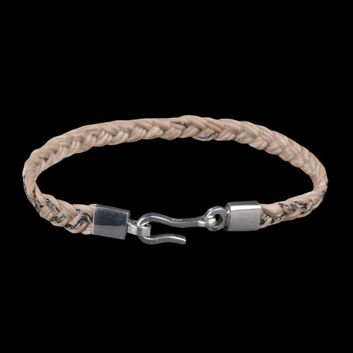 Hand Braided Silver & Cord Bracelet in Natural