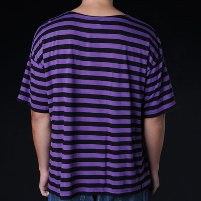 Chimala - Border Pocket Tee in Purple & Black