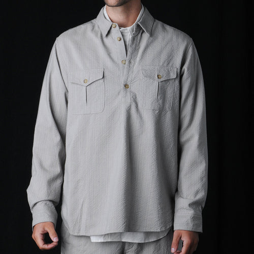 Wool Blend Popover Shirt in Natural
