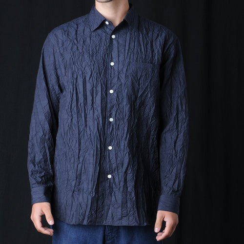 Crinkle Shirt in Navy