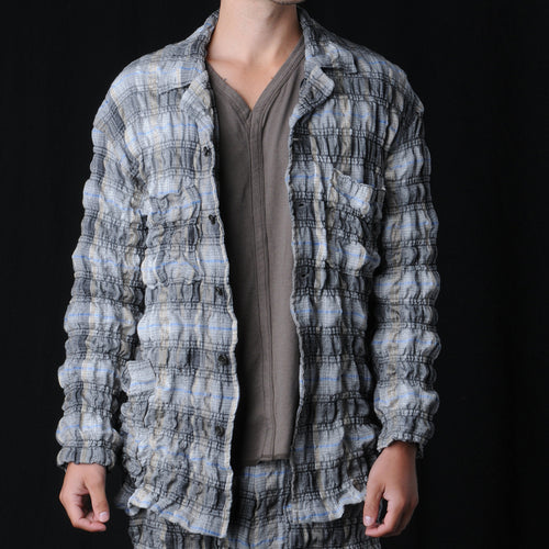 Crinkle Check Workwear Jacket in Grey