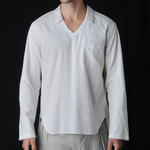 Open Collar Popover Shirt in Oatmeal