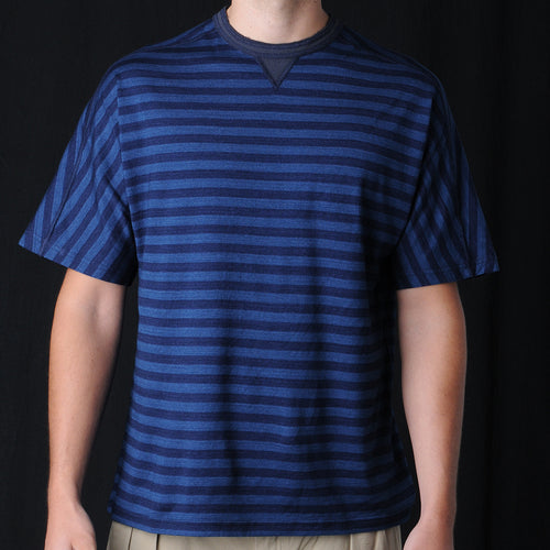 Crew Neck Tee in Indigo Thin Stripe