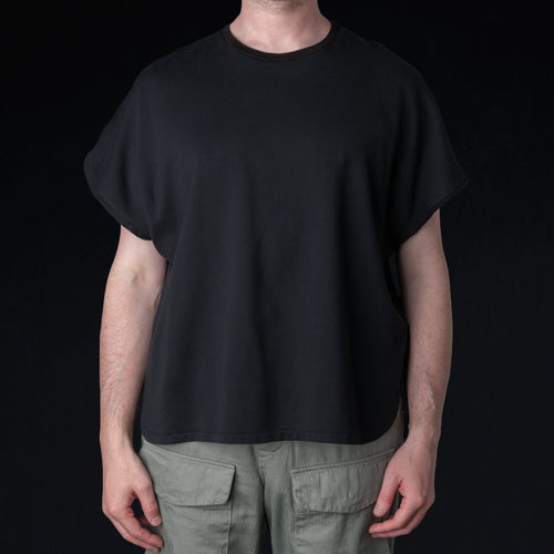 French Terry Cut Off Box Tee in Black