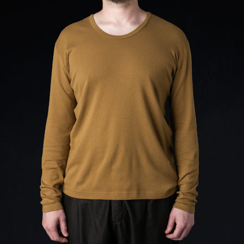 Rootstock Silk Cotton Rib U Neck Tee in Camel