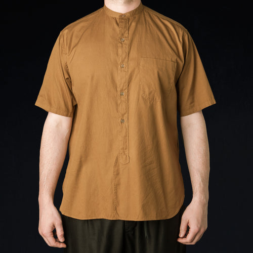 Soft Ox Band Collar Shirt in Camel