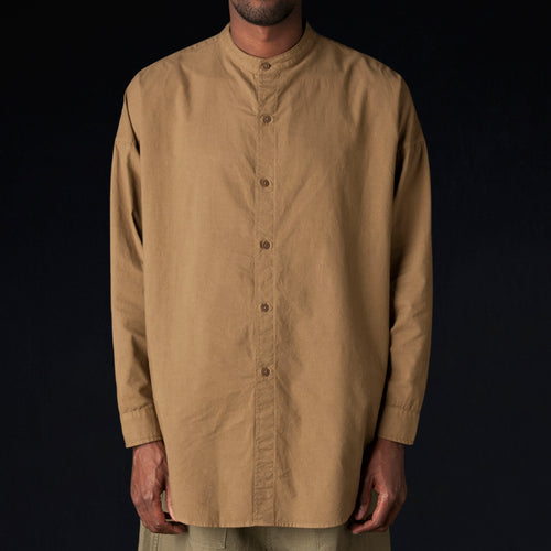 Mei No Collar Shirt in Olive