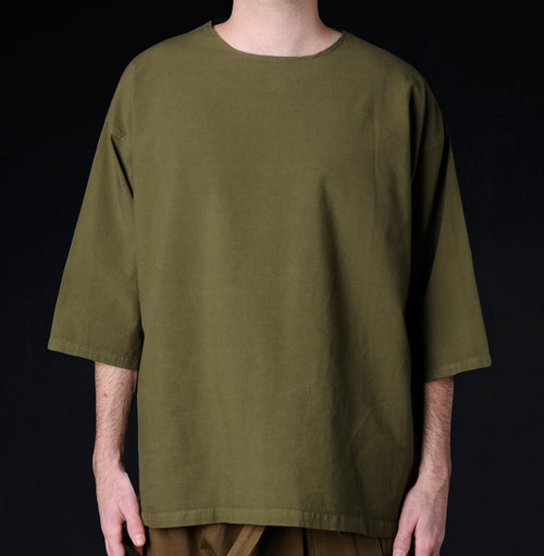 Muro Oversized Woven Tee in Olive