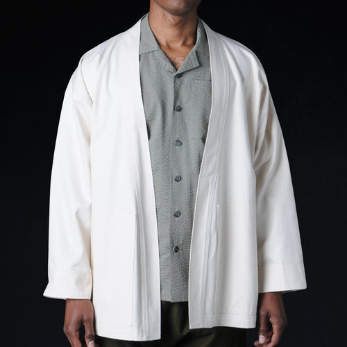 "Herringbone Karate ""Cardigan"" Jacket in Natural"