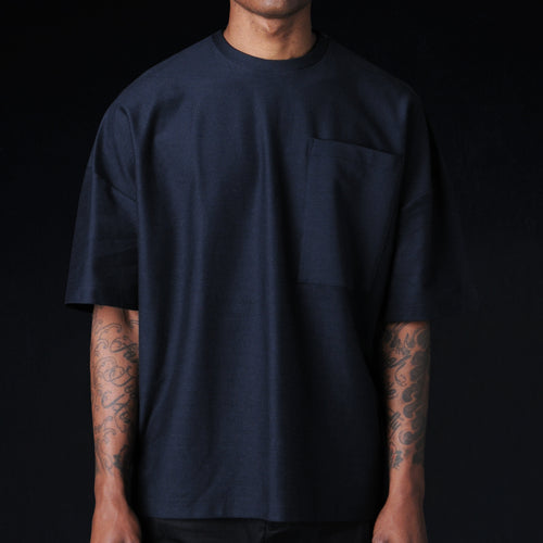 Oversized Ultra Fine Terry Crew in Midnight Blue