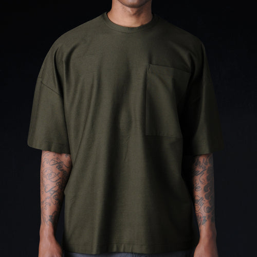 Oversized Ultra Fine Terry Crew in Army Green