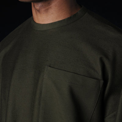 Grei. - Ultra Fine Terry Oversized Crew in Army Green