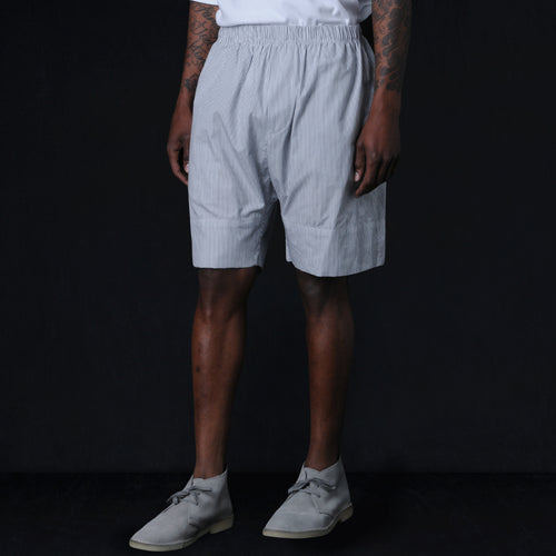 "Heavy Crinkle Baggy ""Cruiser"" Short in Grey Stripe"