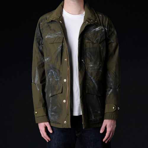 Hand Painted Washed Vintage Nylon Safety Jacket in Army Green
