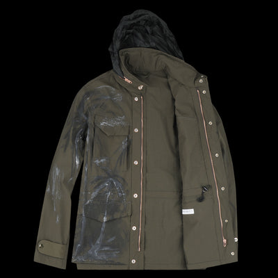 3a3e309b540 President s - Hand Painted Washed Vintage Nylon Safety Jacket in Army Green