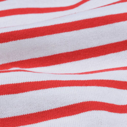 Stripe Long Sleeve Tee in White & Rouge