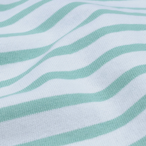 Stripe Long Sleeve Tee in White & Jade
