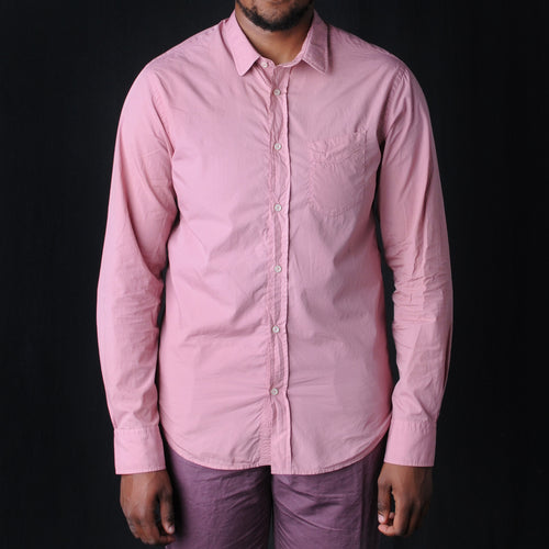 Lipp Pigment Garment Dyed Cotton Shirt in Faded Rose