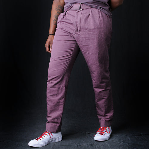 Pierre Italian Cotton Linen Trouser in Mauve