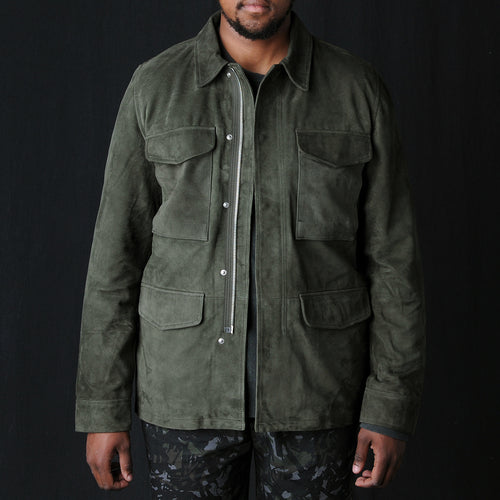 Suede Paratrooper Jacket in Olive