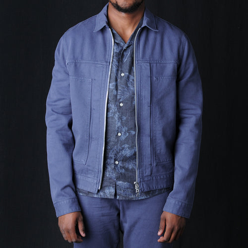 Cillian Garment Dyed Jacket in Ocean