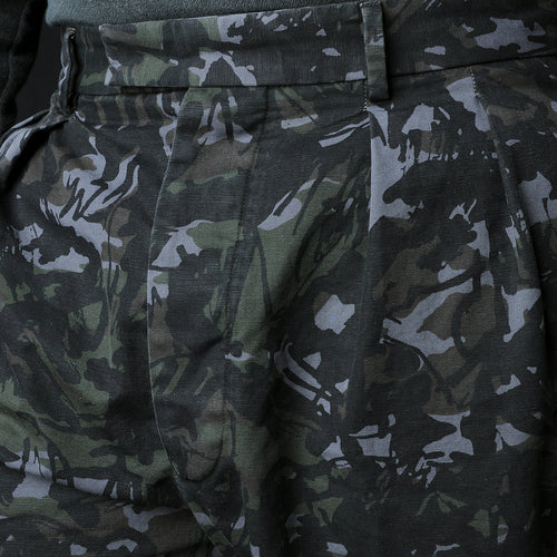 Italian Cotton Camo French Short in Black & Olive
