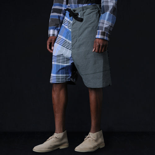 Pull Cord Short in Blue Check