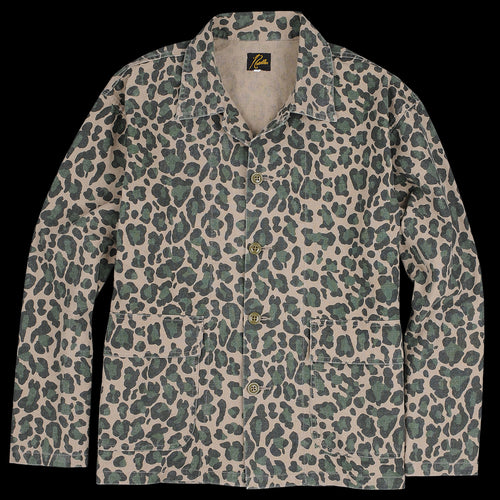 0001ad03953a Needles - Cotton Linen Canvas Print Bush Jacket in Leopard Camo