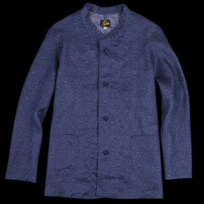 Needles - Linen Paisley Oriental Button Stand Collar Coverall in Navy