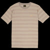 Needles - Lame Stripe Papillon Embroidered Crew Neck Tee in Beige