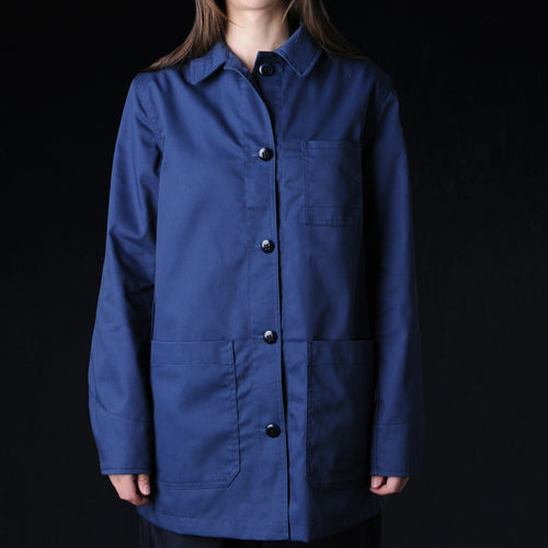Long Work Jacket in Sax Navy