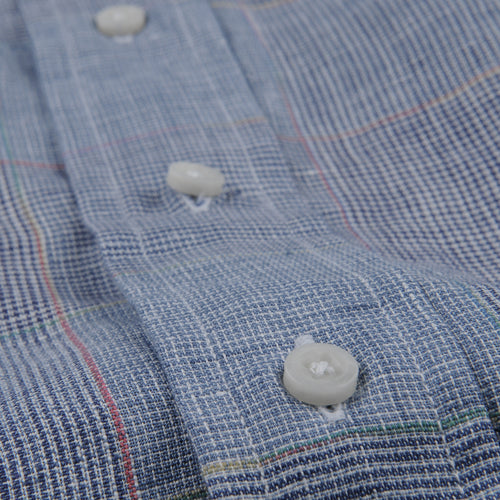Button Down Shirt in Blue Linen Grid Check
