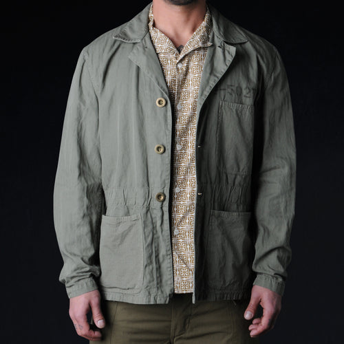 Nathan Work Jacket in Olive Herringbone