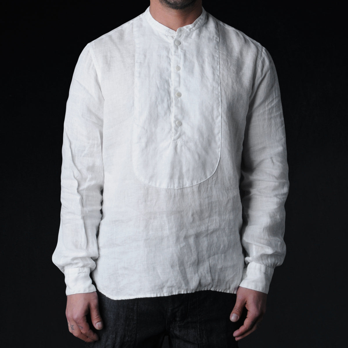 East Harbour Surplus Kirk Collarless Shirt In White Linen Unionmade