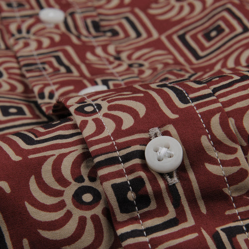 Band Collar Shirt in Burgundy Batik