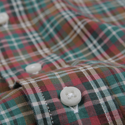 Button Down Shirt in Olive Archive Madras