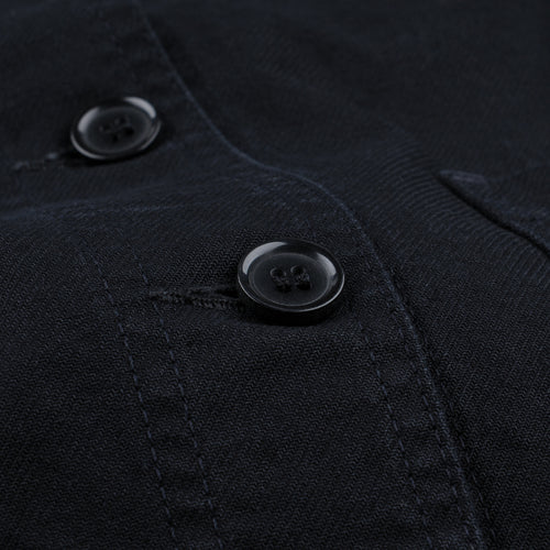 Washed Dungaree Twill Workwear Jacket in Black