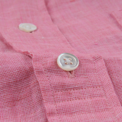 Sander Mc Shirt in White & Pink Linen Oxford
