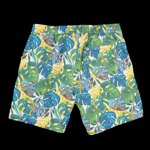 Kuta Swimshort in Green & Yellow Tropical Leaves