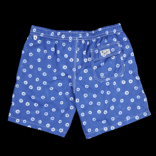 Swimshort in White Dot Indigo